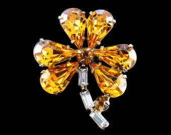 Vintage 1940's Amber Glass and Rhinestone Clover Pin