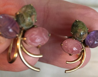 12kt gold filled scarab screw back earrings