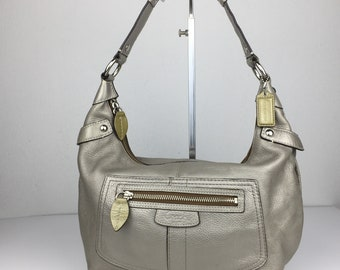 Authentic COACH Silver Cowhide Leather Hobo@Shoulder Bag