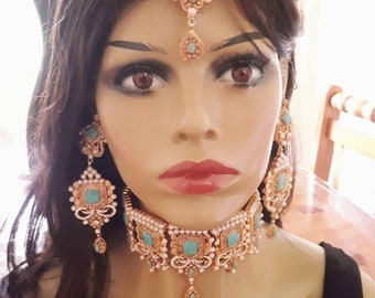 Indian pakistani bridal jewelry set Pakistani feroza choker necklace .