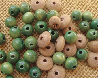 Green and tan wood bead destash lot - disk and round bead mix - 6mm to 10mm - rustic, primitive wood beads - quantity: 44