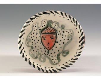 Acorn in a  Bowl - Original Painting by Jenny Mendes in a Hand Pinched Ceramic Finger Bowl