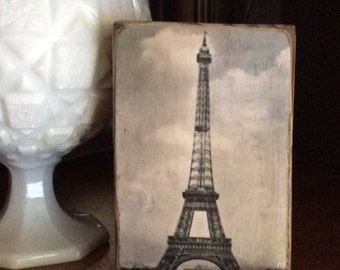 Paris French Country Eiffel Tower Wood Decorative Block, Distressed Wood Block, Shabby Chic, French Postcard Farmhouse Home Decor