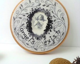 Embroidery hoop art featured in Sew Somerset summer 2015, home decor, french knot stitch wall art, one of a  kind Vintage portrait II