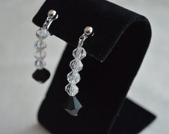 SALE ! Jet Black Glass Beads Clip Drop Silver tone Earrings