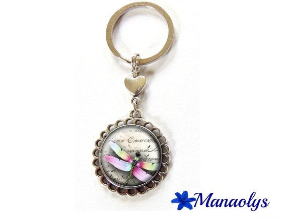 Door keys or jewelry bag Dragonfly multicolored 78 glass cabochons