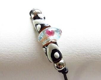 Waxed cotton bracelet 16274