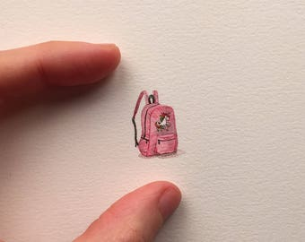 FRAMED Miniature Painting of a unicorn backpack by Brooke Rothshank