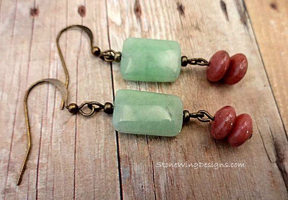 Mint Chrysoprase and Rhodonite Gemstone Earrings