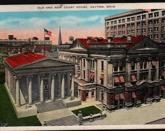 Old and New Court House – Dayton, Ohio – Vintage Souvenir Postcard