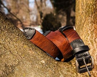 Leather Belt / Full Grain Leather Belt / Brown Leather Belt / Mens Leather Belt / Brown-blasck belt / D044