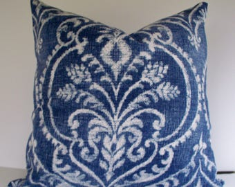 Blue White Pillow Cover, Denim Blue Ikat Pillow, Blue White Pillow Cover, Dalusio Damask Denim