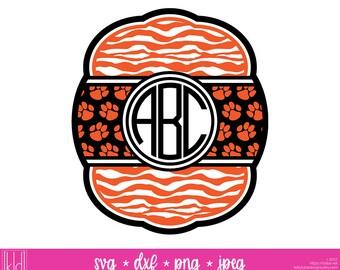 Tiger Monogram svg - Tiger Paw svg - Tiger svg - Tigers Monogram - Monogram svg - Baseball Monogram - Football svg - Paw Print svg