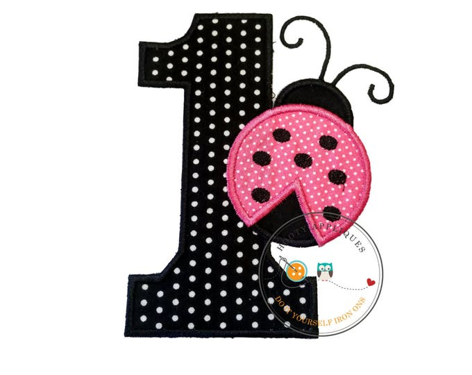 Pink lady bug with black pin dot number one iron on, Lady bug first birthday theme iron applique, 1st birthday lady bug iron on, premade