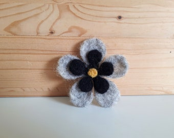 Black, grey and yellow felted wool brooch