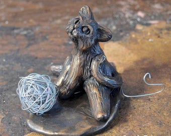 Cat Sculpture, Cat Figurine, Cat Playing With Wire, Mixed Media Cat Sculpture, Cat Lovers Gifts, One Of A Kind Cat, Artist Signed, Cat Art