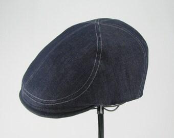 Denim 6-Panel Handmade Flat Cap Driving Cap for Men in Denim - Custom Hats