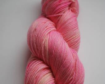 Organic La Vie En Rose Yarn, SW O Wool, Nylon fingering, Sole-O, 420 yard, hand dyed, rose, romantic, pink, neon, Edith Piaf, music inspired