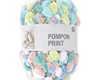 RICO CREATIVE Pompon print Pelote de petits pompons multicolores rose et turquoise 200g 100m