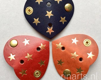 Earphone cord keeper / cable organizer HEART in red / orange / dark blue veg tan. leather with golden stars. Original RINARTS cable tidy.