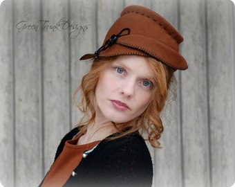 Tilt Hat / Rusty Brown Percher Hat / 1930s 1940's Vintage Inspired