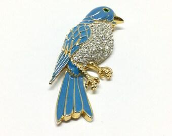 Vintage Enamel Rhinestone Bluebird Brooch Pin
