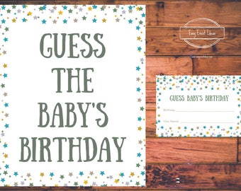 Printable Little Star Baby Shower Guess the Baby's Birthday Game Instant Download