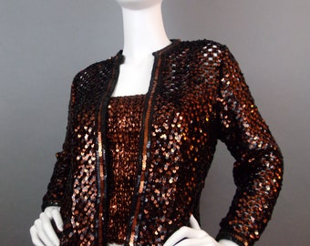 Sale Vintage sequin metallic bronze cooper sweater set union label
