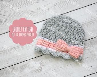 CROCHET PATTERN - Newborn girl hat pattern, crochet baby girl hat pattern, photo outfit pattern, newborn photo prop pattern, hat with bow
