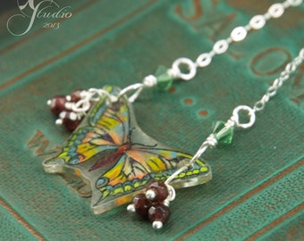 Hand-drawn mini moss green garnet acrylic Butterfly sterling chain necklace with garnets and crystals