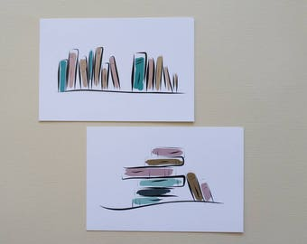 "Set of 2 cards/bookmarks ""Books/Books"", for lovers of books Book Lovers with recycled paper envelopes"