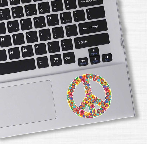 Small floral peace sign sticker colorful flower laptop decal peace symbol vinyl bumper sticker hippie boho cute car decal sticker wall decal from