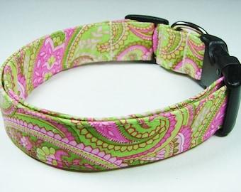 Charming Pink & Green Paisley Dog Collar