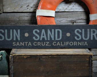 Sun Sand Surf Wood Sign, Custom Beach Gift, Beachy Decor for Beach House Sign, Sun Sand Surf Sign, HandMade Vintage Wood Sign ENS1002015