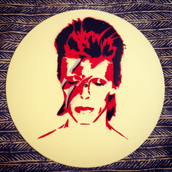 David Bowie Stencil art Vinyl record Spray Paint LP Wall