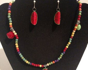 Summer Watermelon Earrings and Necklace/Bracelet/Anklet Jewelry Set Fruit Charms