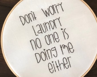 Doing laundry embroidered hoop art wall hanging