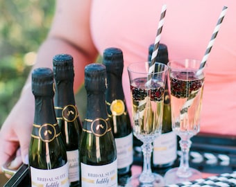 Custom Mini Champagne Bottle Labels for Bachelorette Party Favors, Engagement Party, Wedding Day, Bridal Suite, Thank you Gift, Welcome Box