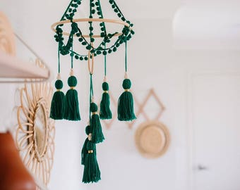 Emerald green cot mobile, boho mobile, crib mobile, baby mobile, tassel mobile, boho nursery decor, shower gift, chandelier mobile,