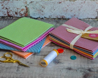 Fat Quarters, Fabric Bundle, Fat Quarter Bundle, Pink, Pin Stripes, Cotton, Quilting, Patchwork, Crafting, Home decor, Wall decor, Sewing