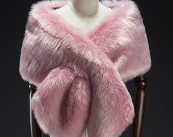 Pink Faux Fur Wrap, Bridal Fur Stole, Fur Cape,  Wedding stole fur, Faux Fur Shrug, Faux Fur shawl
