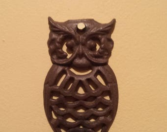 Cast Iron Owl Vintage Hanger Wall Mount With Detachable Hook
