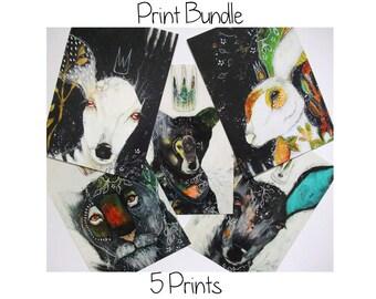 Print bundle 5 glossy oversized postcard art poster prints A5 size - Print bundle 5 prints
