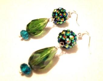 OLIVE Mermaid's Garden rhinestone and crystal drop earrings