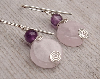 Rose Quartz and Amethyst Stone Earrings, Rose Quartz Earrings Gift for Her Sterling Silver Wire Wrapped Jewelry Pink Stone Jewelry, Women
