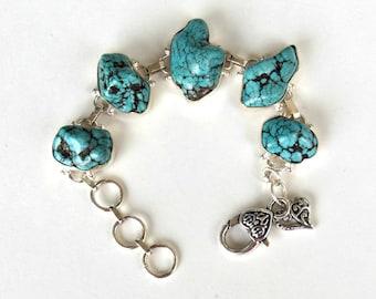 Turquoise Nuggets Bracelet – Boho - Organic
