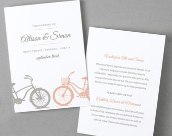 Printable Wedding Program Template | Instant DOWNLOAD | Bicycle | Folded 5x7 | Editable Text | Word or Pages  | Easy DIY | Editable Colors