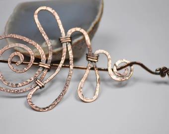 Swirl Copper Wire Hair Barrette, Copper Hair clip,Large Hair Pin,Swirl Hair Barrette,Swirl Hair Accessory, Clothing Gift for Her