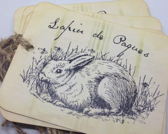 Lapin Gift Tags Bunny Tags Easter Rabbit tags  Easter Basket Tags Jute Set of 4