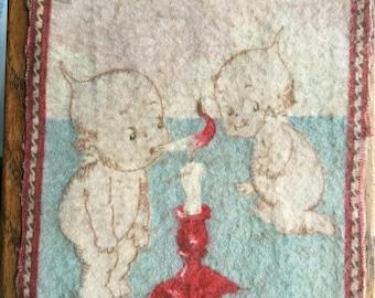 Antique 1914 Dollhouse Miniature Carpet Rose O'Neill Kewpie Cigarette Felt